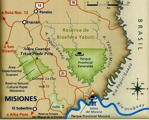 El soberbio (ruta 2) Colonia La Flor (ruta 15)  Aldea Pindo Poty (camino vecinal)