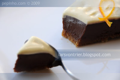 Tarta de queso, chocolate y naranja