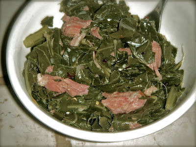 up, my grandmother use to prepare collard greens almost every Sunday ...