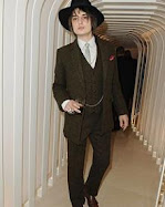 Pete Doherty wearing my 'Marina Maclean X Che Camille' Harris Tweed suit at Paris Fashion Week...