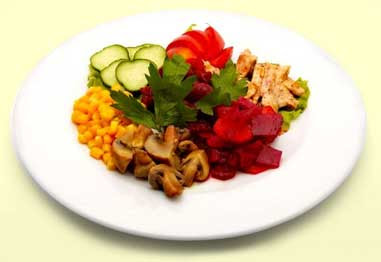 Attractive plate of colorful food