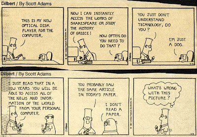Two Dilbert cartoons about how technology will soon give us lots of information at our fingertips
