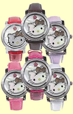 Six Hello Kitty watches in coordinating colors