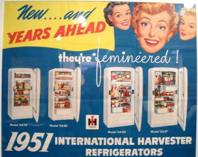 International Harvester ad for refrigerators, claiming they are femineered