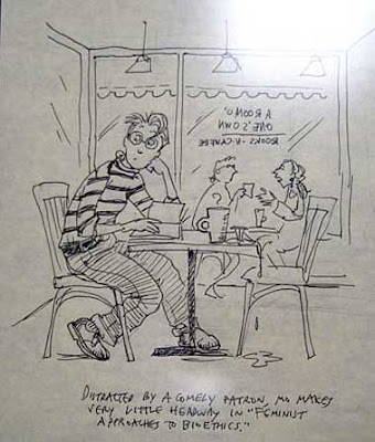 Cartoon of Mo sitting at a cafe table in a bookstore