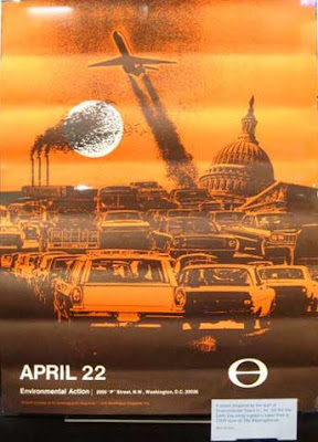 Orange poster for the first Earth Day, with graphic rendering of traffic and pollution
