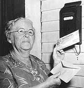 Ida May Fuller getting her check in the mail