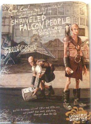 Two skeletal, bald people a la Road Warrior. Lettering looks like scribbled writing