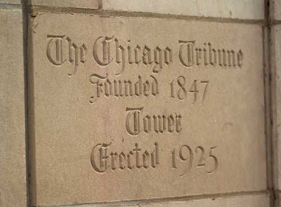 Chicago Tribune building cornerstone