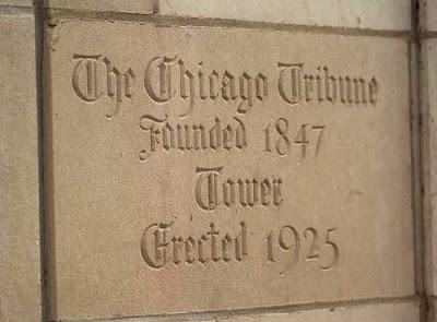 Chicago Tribune building cornerstone