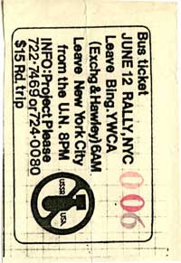 Xeroxed bus ticket for the June 12, 1982 antinuclear march in New York City