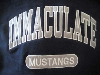 High school sport sweatshirt reading Immaculate Mustangs