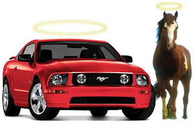 Red mustang car with a yellow halo next to a brown and white mustang horse with a yellow halo