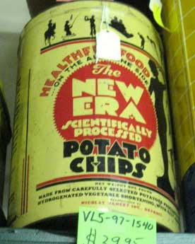 Art deco tin of potato chips, promoting Scientifically Processed Potato Chips