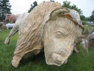 A buffalo mold on its side