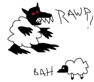 Black wolf with red eyes and white sheep padding near a real sheep
