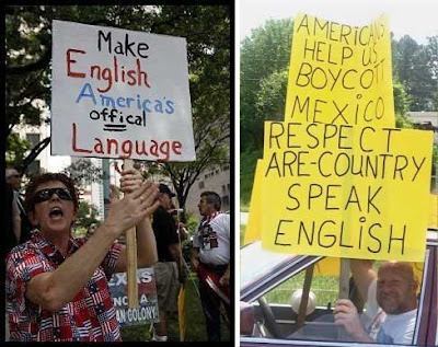 Two signs, one reading Make English America's offical language, the other Respect are country speak English