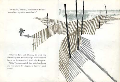 Two page spread from Sam of a wooden picket fence amid dunes on the shore