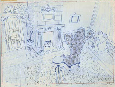 Pencil rendering of Scrooge's chair in his sitting room