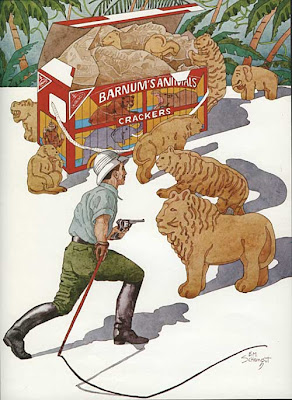 Watercolor of a lion tamer taming full-size animal crackers