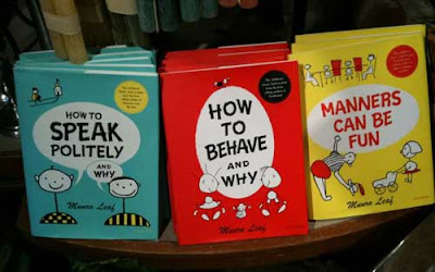 Three books with didactic titles like How to Speak Politely and How to Behave and Why