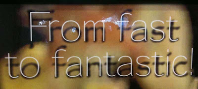 Headline reading From Fast to Fantastic, white type with black blurry drop shadow behind it