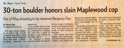 30-Ton Boulder Honors Slain Maplewood Cop