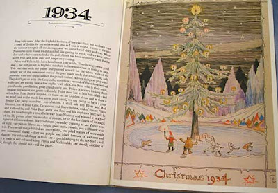 Illustation of a Christmas tree with Father Christmas, polar bear and others dancing around it