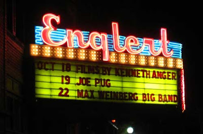 Engleart theater marquee lit at night