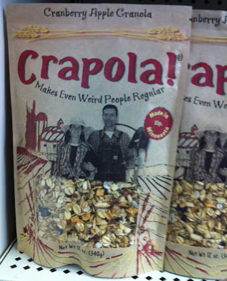 Crapola granola bag on the store shelf