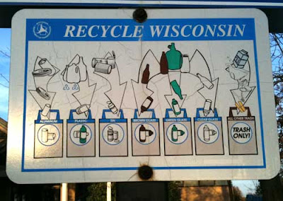 Metal sign that says RECYCLE WISCONSIN with line drawings of different types of trash and recycling receptacles