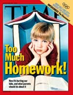 Time magazine cover of blond boy with books and headline Too Much Homework?