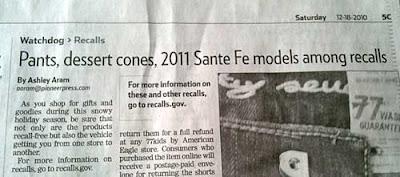 Article headline Pants, dessert cones, 2011 Santa Fe models among recalls