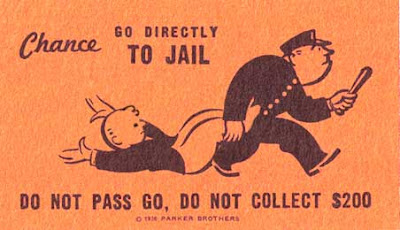 Altered Go to Jail cad from Monopoly, with a kid being dragged by a cop instead of Mr. Moneybags