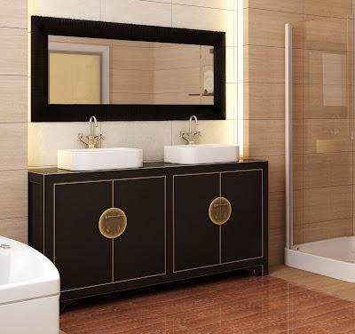 Luxury asian bathroom with shower cabin and sinks with mirror and ...