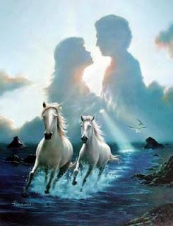 Al fondo se ve una sirueta de una pareja que esta apunto de besarse y justamente dejajo de ellos se ve dos caballos blancos galopando por las aguas de un rio. Para mi representa todo lo contrario a lo que es la soledad por eso he elegiod esta imagen.