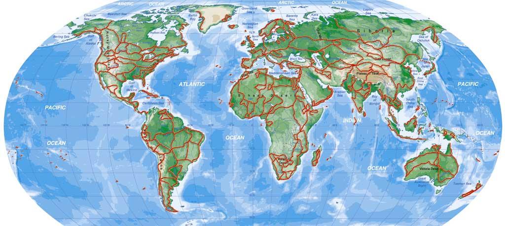 La carta geografica del mondo. l'intero pianeta terra su una cartina