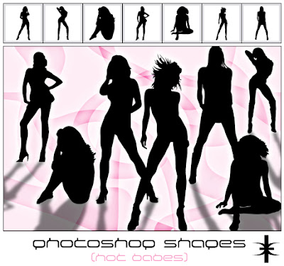 Photoshop Shapes - Hot babes Silhouettes
