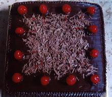 MOIST CHOCOLATE CAKE WITH CHERRY & CHOC. FLAKE