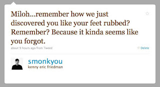 Miloh...remember how we just discovered you like your feet rubbed? Remember? Because it kinda seems like you forgot.