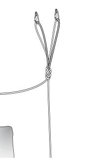Для создания V-образной навески часто используется узел заячьи уши