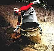 Jogando a cerragem nas Peças de Cerâmica.