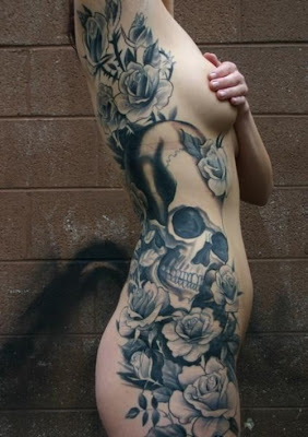 Women Side Body Skull Tattoos Ideas Picture 1