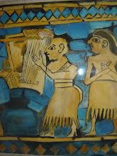 Joueur de harpe. Nacre, lapis lazuli et jade - détail, Ur des Chaldéens, Iraq,  IVe mil. av. J.-C