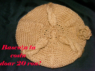 bereta bascuta chocolat handmade tricotata