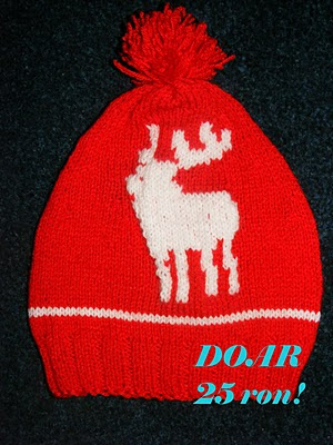 fes iarna Craciun model reni handmade tricotat cadou