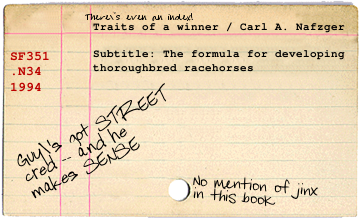 Catalog card for Traits of a Winner by Carl Nafzger
