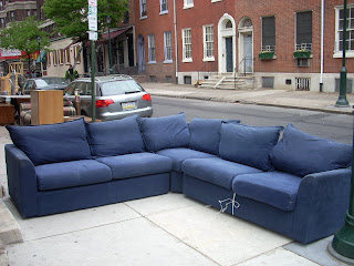 3-Piece Navy Blue Sectional Sofabed - SOLD! : dark blue sectional - Sectionals, Sofas & Couches