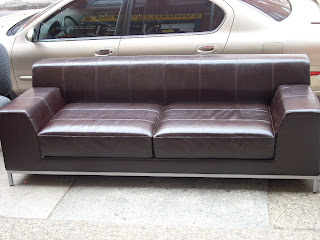 Uhuru Furniture Collectibles IKEA Espresso Leather Sofa SOLD