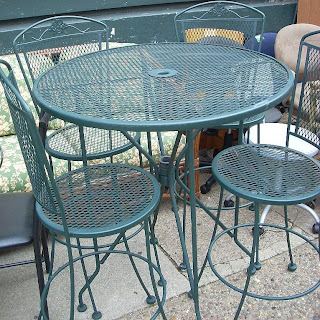 green wrought iron patio furniture. green wrought iron high sitting patio table and 4 chairs sold furniture